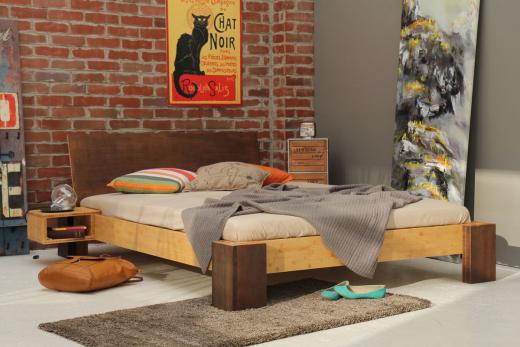 Bambus-Bett Havanna mit Rückenlehne