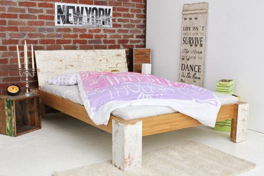 TIBET Bambusbett mit Rückenlehne Hainan 120x200cm