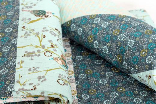 Quilt I 230x250cm, Barock blau Plaid Tagesdecke Patchwork Decke