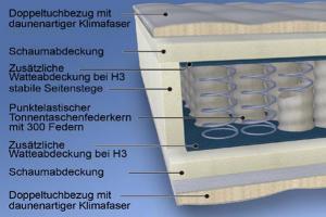 MALIE 300 Federn 7-Zonen Tonnentaschenfederkernmatratze  H2 - H3 in 90x220cm