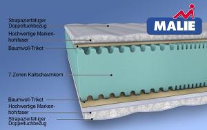 MALIE Classic 7-Zonen Kaltschaummatratze H2 - H4 in 90x200cm