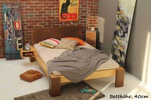 ANGEBOT Bambusbett HAVANNA 90x220cm mit Lattenrost und Matratze