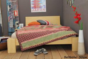 ANGEBOT Bambusbett SUVA 140x220cm mit Lattenrost und Matratze