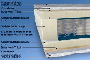 MALIE XXL 5-Zonen Tonnen-Taschenfederkern-Matratze H2 - H5 in 90x200cm