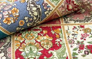 Tagesdecke L, Orient Barock, 230 x 250 cm, Vintage Plaid Quilt, Patchwork Decke