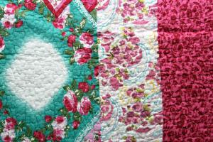 Tagesdecke O 230x250cm Pink Blumen Quilt Patchwork Landhaus